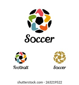 Hand drawn logo with a soccer ball with hands like a star