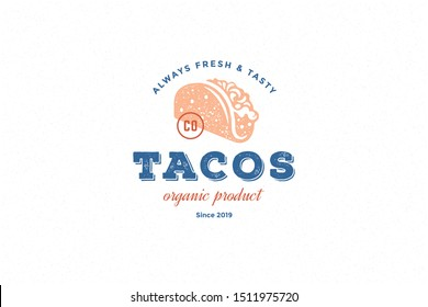 Hand drawn logo tacos silhouette and modern vintage typography retro style vector illustration. Taco tortilla label for fast food packaging and restaurant menu decoration.