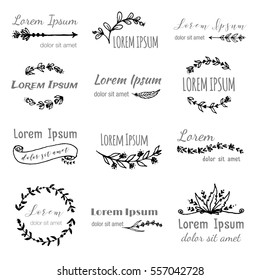 Hand drawn logo templates in bohemian style set. Vector boho frames, border, feathers, branches, flowers, wreaths for logo, invitations (save date), wedding in tribal style. Hand made illustration