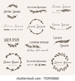 Hand drawn logo templates in bohemian style set. Vector boho frames, feathers, branches, flowers, wreaths for logo, invitations (save the date), label, wedding in tribal style. Hand made illustration