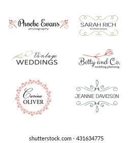 Hand drawn logo templates. Floral logo, rustic logo, simple logo set