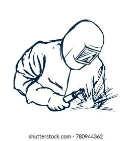 Hand Drawn Logo Welder black silhouette. Vector illustration