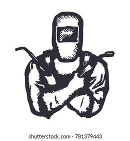 Hand Drawn Logo Welder with Crossed Hands. Vector illustration