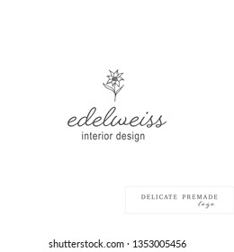 Hand Drawn Logo with Wild Flower and Leaves. Logo for spa and beauty salon, boutique, organic shop, wedding, floral designer, interior, photography, cosmetic. Floral element. Edelweiss wildflower
