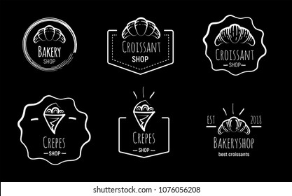 Hand drawn logos of crepes and croissants on black background. Doodle vector illustration.