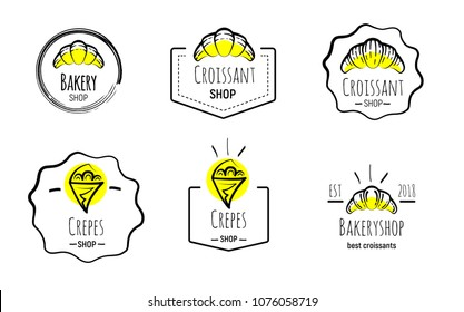 Hand drawn logos of crepes and croissants on yellow spots. Doodle vector illustration.