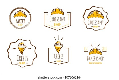 Hand drawn logos of crepes and croissants. Doodle vector illustration.