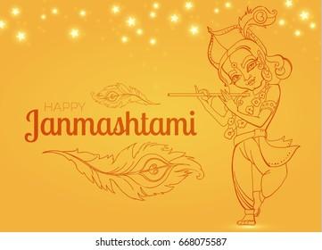 Hand Drawn Lord Krishna Poster. Happy Janmashtami Flyer Template.  Indian Festival. Vector illustration