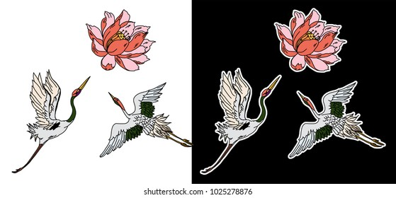 Hand drawn Lotus and Heron bird.Japanese crane fly with Lotus flower object for tattoo.