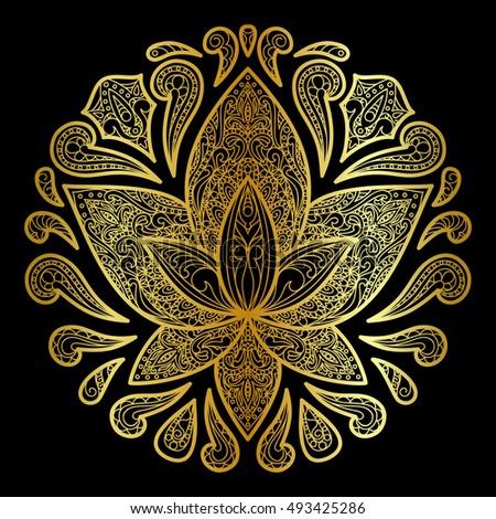 Hand Drawn Lotus Sign Floral Symbol Stock Vector Royalty Free