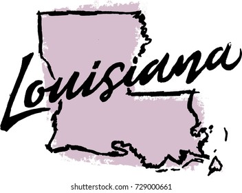 Hand Drawn Louisiana State Design