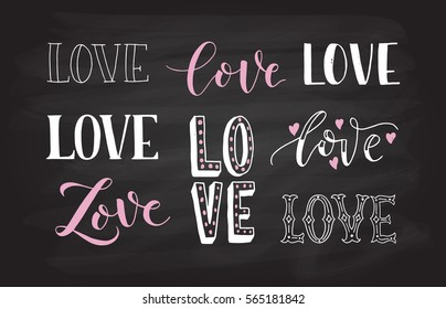 Hand drawn Love  badge icon. Valentines Day poster card invitation banner. Romantic quote vector lettering typography.  Calligraphy