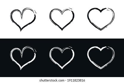 Hand Drawn Love Hearts. Grunge Brush Stroke Style Heart Vector Illustrations, Symbols, Icons Set