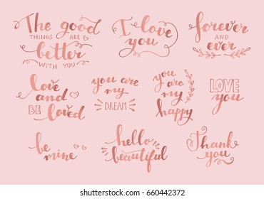 Hand drawn love lettering collection. Rose gold color. Romantic theme. Colorful vector illustration. Valentine's Day