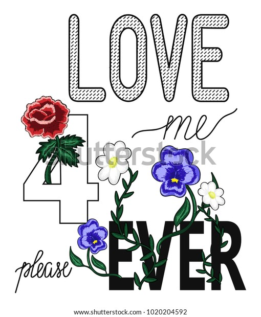 Hand Drawn Love Me Forever Typography Stock Vector (Royalty Free