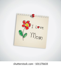 Hand Drawn I love Mom with Flower Paper Vector