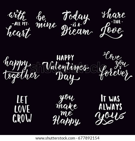 Hand Drawn Love Quotes Vector Illustration Stock Vector Royalty