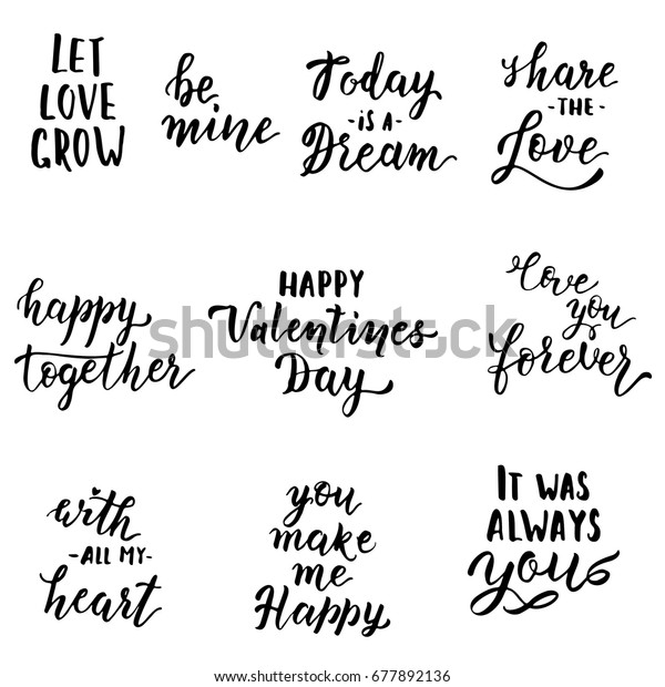 Hand Drawn Love Quotes Vector Illustration Stock Image ...