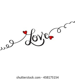 hand drawn love vector lettering word