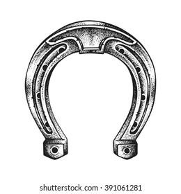 Hand drawn lucky horseshoe. Saint Patricks Day. Vector illustration