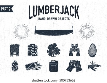 Hand drawn lumberjack textured icons set 2. Vector illustrations.
