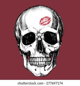Hand drawn macho skull. Vector illustration.