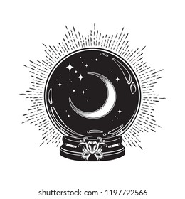 Hand drawn magic crystal ball with crescent moon and stars line art and dot work. Boho chic tattoo, poster or altar veil print design vector illustration