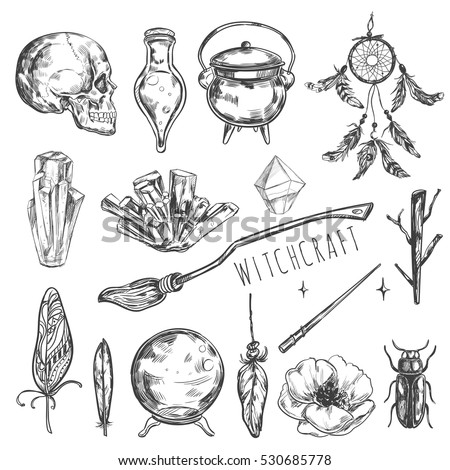 Hand Drawn Magic Set Vector Illustration Stock Vector Royalty Free