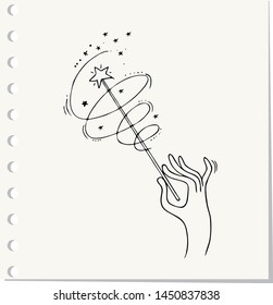 Hand Drawn magic wand doodle. Sketch style icon.Isolated on paper background. Vector illustration