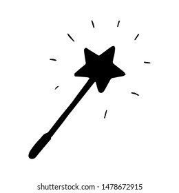 Hand Drawn magic wand doodle. Silhouette icon. Decoration element. Isolated on white background. Flat design. Vector illustration.