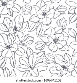 Hand drawn magnolia flowers. Vector seamless pattern.