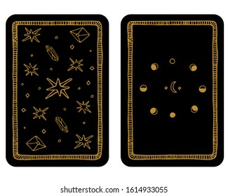 Hand drawn major arcana tarot card template. The reverse side.Tarot vector illustration in vintage style with mystic symbols, crystals and line art stars. Witchcraft concept for tarot readers
