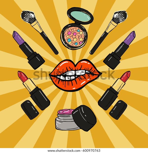 Hand drawn make up products. Lipstick, brush, blush, powder. Vector illustration. Pop art comic style.