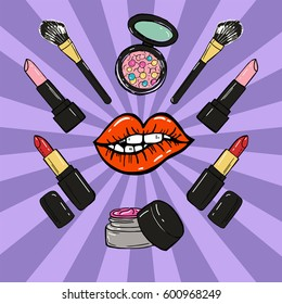 Hand drawn make up products. Pop art style. Vector illustration.
