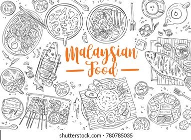 Hand drawn Malaysian food, Asian Food background, Vector