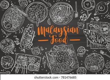 Hand drawn Malaysian food on a blackboard, Top view Asian Food background, Vector