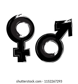 Hand Drawn Male & Female Gender Icon in Grunge Style. Gender Equality Concept. Vector Illustration
