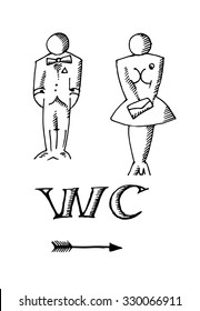 Hand drawn Male and female sign WC icon. Vector illustration.
