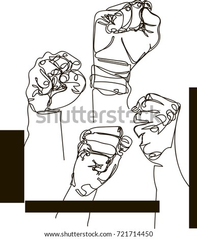 hand drawn male fists raised up stock vector royalty free