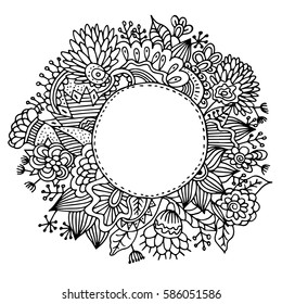 Hand drawn mandala with flowers and decorative leafs. Isolated on white background