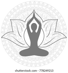 hand drawn  mandala, Lotus. Yoga asana.  Set of oriental ornaments for yoga studio  poster and logo, coloring book.