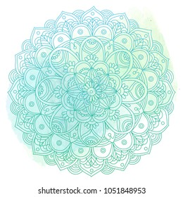 hand drawn mandala on a watercolor stain