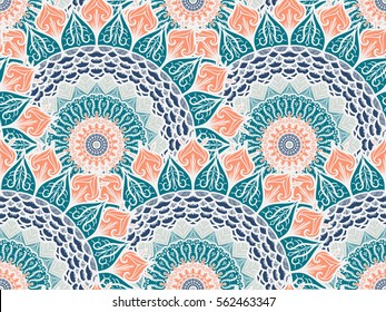 Hand drawn Mandala Seamless Pattern. Arabic, indian, turkish and ottoman culture decoration style. Ethnic ornamental background. Magic vintage template of greeting, card, print, cloth, tattoo. Vector