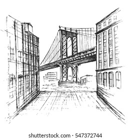Hand drawn Manhattan bridge seen from a narrow alley enclosed by two brick buildings