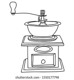 Hand drawn manual coffee grinder