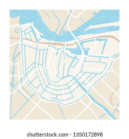 Hand drawn map of Amsterdam, the Netherlands. Vector illustration. Illustration for travel guide, print or to be used on tourist products.
