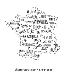 Map Of France Drawing.French Map Drawn Stock Illustrations Images Vectors