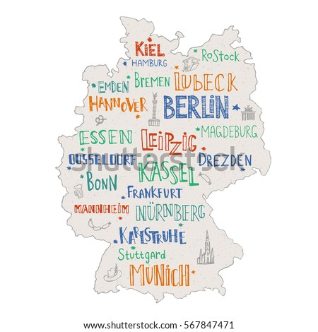 Hand Drawn Map Germany Lettering Main Stock Vector Royalty Free