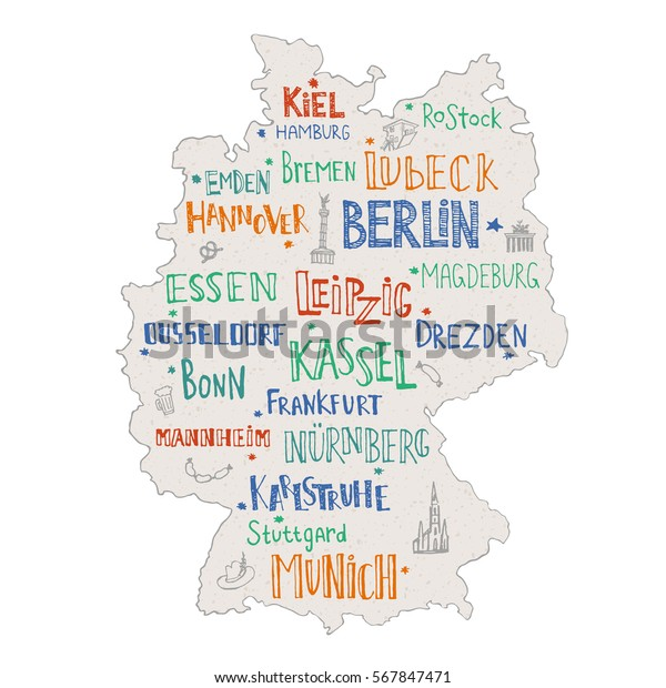 Hand Drawn Map Germany Lettering Main Stock Vector (Royalty ... on map africa cities, map with cities, german cities, map equatorial guinea cities, map of german states and capitals, map ethiopia cities, map of bavaria cities, map world cities, map japan cities, map jordan cities, map italy cities, map france cities, map spain cities, map england cities, map romania cities, map georgia cities, map india cities, map europe cities, map co cities, map turkey cities,