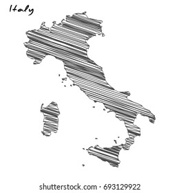 Hand drawn map of Italy sketch on white background.